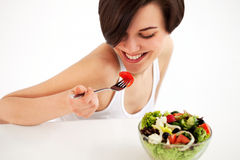 Woman with salad Stock Photos