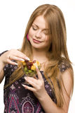 Woman with salad bowl Royalty Free Stock Photography