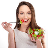 Woman with salad Stock Photo
