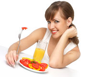 Woman with salad and juice Royalty Free Stock Photo
