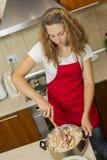 Woman salad mixes Royalty Free Stock Images