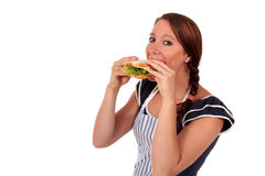 Woman salad sandwich Royalty Free Stock Images