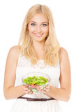 Woman with salad Royalty Free Stock Photos