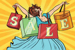 Woman with sale bags shopping. Business and the buyer. Comic cartoon style pop art vector retro illustration royalty free illustration