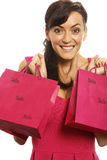 Woman with sale bags Royalty Free Stock Images