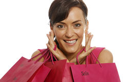 Woman with sale bags Royalty Free Stock Image