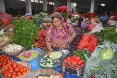 Woman sale fruits Stock Photos