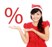 Woman sale promotion. Happy woman showing sale discount promotion Royalty Free Stock Photos