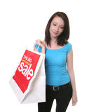 Woman with sale shopping bag Royalty Free Stock Images