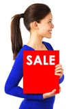 Woman with sale sign Royalty Free Stock Images