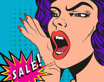 Woman with Sale sign. Vector Illustration in pop Royalty Free Stock Photography