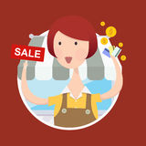 Woman with Sale Sign. Vector illustration of woman working in front of shop with sale sign and credit card in hand Stock Image