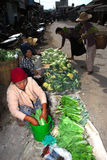 Woman sale vegetables in traditional morning Myanmar market. Stock Photo