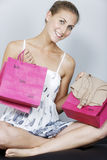 Woman with sales bags Royalty Free Stock Photo