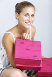 Woman with sales bags Stock Photography