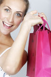Woman with sales bags Royalty Free Stock Photography