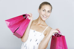 Woman with sales bags Stock Photos