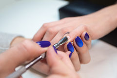 Woman in salon receiving manicure by beautician Royalty Free Stock Image