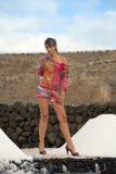 Woman on salt mine Stock Photos
