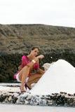 Woman on salt mine Royalty Free Stock Photos
