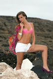 Woman on salt mine Royalty Free Stock Photo