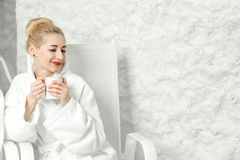 Woman in the salt room Royalty Free Stock Photography