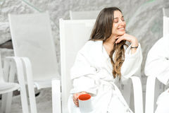 Woman in the salt room Royalty Free Stock Photo