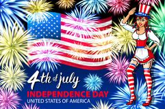 Woman salute firework with USA flag, july 4th Independence Day vector. Art royalty free illustration