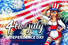 Woman salute firework with USA flag, july 4th Independence Day vector. Art stock illustration