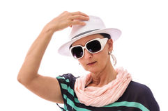 Woman salute white hat Stock Images