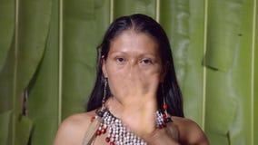 Woman Saluting The Viewer. In The Sense Of Goodbye In Ecuador stock video