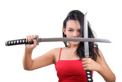 Woman samurai royalty free stock images