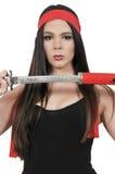 Woman Samurai Swordsman Stock Photo