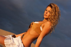 Woman on sand royalty free stock photos