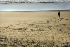 Woman Sand Painting Beach San Francisco Royalty Free Stock Photo