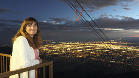 A Woman on the Sandia Peak Aerial Tramway Observation Deck After Royalty Free Stock Photos