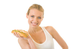 Woman with sandwich, isolated Stock Image