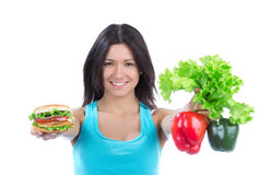 Woman with sandwich peppers salad Stock Photo