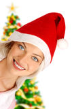 Woman in Santa cap Stock Image