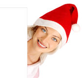 Woman in Santa cap Royalty Free Stock Images