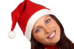 Woman in Santa cap Stock Photo