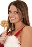 Woman santa caramel apple smile Stock Image