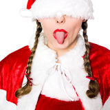 Woman santa claus christmas blindfold sticking out Royalty Free Stock Photography