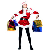 Woman santa claus christmas shopping Stock Photos