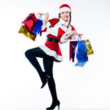 Woman santa claus christmas shopping Stock Image