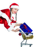 Woman santa claus christmas shopping cart Stock Photography