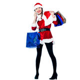 Woman santa claus christmas shopping telephone Royalty Free Stock Photography