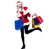 Woman santa claus christmas shopping telephone Royalty Free Stock Image