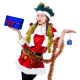 Woman santa claus christmas tree Stock Images