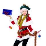 Woman santa claus christmas tree Stock Photography